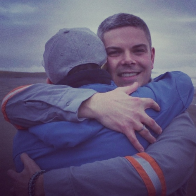 Cam hugs pro skater Rick McCrank of VICELAND TV